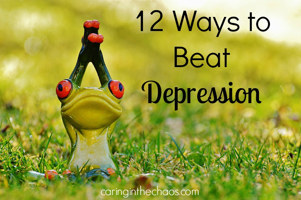 Picture of a green frog doing a yoga pose - 12 ways to beat depression