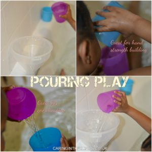 Pouring using cups in the bath